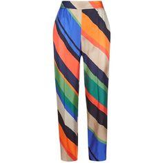 Escada Tsisa Asymmetric Stripe Trousers (1.488.355 COP) ❤ liked on Polyvore featuring pants, escada, escada pants, silk trousers, pocket pants and silk pants
