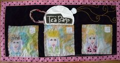 https://flic.kr/p/4qJGE5 | The Tea Bags | Hand made art quilt out of simple materials found in the kitchen. Paper towels painted were the background for each of the girls. The girls were drawn on the backs of tea bag wrappers using a marker and colored pencils. I used the tag from the tea bags to create a balloon for talking. The tea pot was made from the silver foil wrapper from a can of coffee. The handle was from scra fabrics. I hand quilted it and framed with a pink and black polka dot…