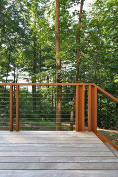 Modern Exterior Cedar Siding balcony design and interior stair railing Metal Deck Railing, Interior Stair Railing, Deck Railing Design, Balcony Design, Deck Design, Cable Railing, Railing Ideas, Cable Fencing, Metal Spindles