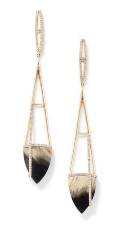 Monique Péan fossilized woolly mammoth and petrified palm wood earrings in recycled rose gold.
