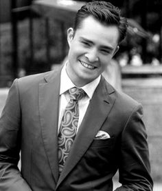 Blue suits/pattern tie combination/touch of pink I'm Chuck Bass, Ed Westwick, Suit Pattern, Wedding Groom, Suit Jacket, Tie, Blue Suits, Jackets, Touch