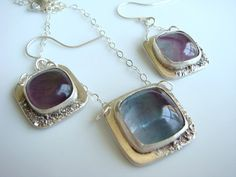 PMC Set Fluorite Necklace and Earring Set