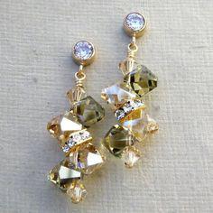 Champagne Peridot Crystal Earrings Gold Swarovski by fineheart, $40.00