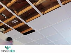 Snapclip Suspended Ceiling System in Flat Pure White 64 sq ft Kit with Optional 20 sq ft Kit Available Basement House, Basement Plans, Basement Bedrooms, Basement Renovations, Basement Ideas, Basement Bathroom, Basement Storage, Basement Ceiling Insulation, Basement Ceiling Options
