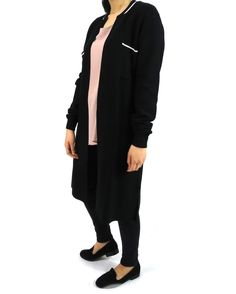 Black long cardigan with white detailing - also available in khaki in store and online. . . #naqshonline #outerwear #jackets #cardigan #style #womenswear #onlineshopping #fashion
