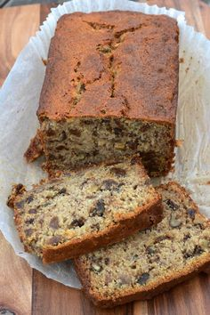Banana Bread - Nigella Lawson recipe. While the recipe recommends simmering the raisins in rum before adding to the cake mix, I prefer apple juice or whatever juice might be in the fridge - it is sweeter.