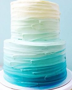 """Blue Ombre cake design cakes fondant 50 Ombre Wedding Cakes That Are Sexier Than """"Fifty Shades Of Grey"""" Ocean Cakes, Beach Cakes, Cakes Originales, Sweet 16 Cakes, Blue Cakes, Mermaid Cakes, Savoury Cake, Baby Shower Cakes, Eat Cake"""