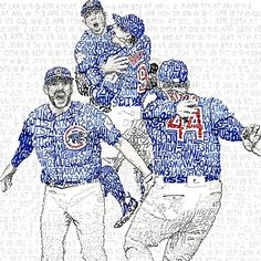 This handwritten 2016 Chicago Cubs World Series word art print is the perfect gift for Cubs fans. Add to your man cave as a poster, wall art, or framed print!