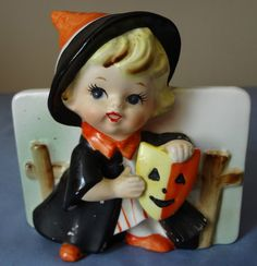 VINTAGE RELPO PORCELAIN HALLOWEEN GIRL WITCH WITH MASK PLANTER