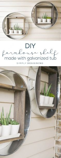 DIY Farmhouse Shelf - this farmhouse shelf is made out of a galvanized tub is so fun - industrial shelf - farmhouse - vertical planter - hanging planter - outdoor living @KregTools @BuildSomething