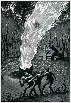 by Virgil Finlay, 1941 - the light from the fire is shown on the characters and surroundings; adding to a well composed illustration.