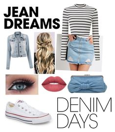 """""""Denim"""" by victoriablum04 ❤ liked on Polyvore featuring Refuge, Miss Selfridge, Converse, La Regale and denimskirts"""