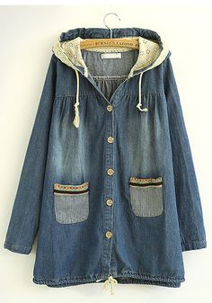 Blue Patchwork Drawstring Long Sleeve Denim Trench Coat