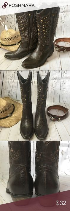 Brass studded brown cowboy boots Brass studded brown cowboy boots. I have two pair of brown cowboy boots & don't need both! Only worn a few times. Excellent condition. Man made materials but looks like leather. Limelight Shoes Heeled Boots