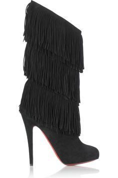 Cool women style~!Christian Louboutin Forever Tina Fringe Black Boots