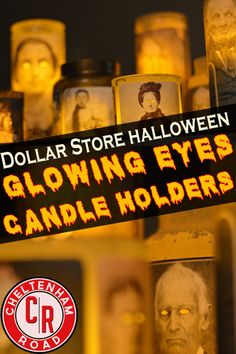 Halloween Decoration Tutorial. Spooky Glowing Eyes Candle Holders by Cheltenham Road