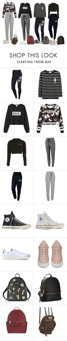 """Sweatpants and so"" by audrey-balt ❤ liked on Polyvore featuring NIKE, WithChic, Topshop, Puma, Icebreaker, Converse, adidas Originals, Filling Pieces, Love Moschino and Henri Bendel"