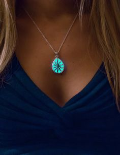 Aqua Drop Glowing Necklace - Glow in the Dark Necklace - Glow Jewelry by EpicGlows #glow #necklace #jewelry