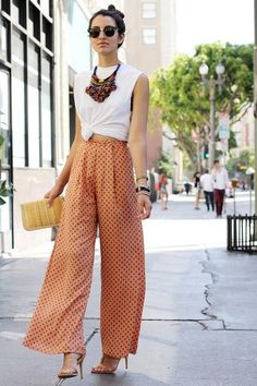 Palazzo Pants + a white croptop + a statement necklace for making a style splash at work