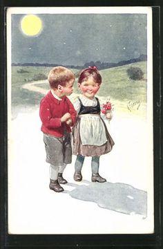Vieux-artistes-AK-Karl-jour-ferie-jeunes-filles-apporte-la-nuit-a-la-maison