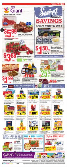 Stop & Shop Weekly Ad Circular June 9 - 15 United States Stop And Shop Circular, Giant Food, Grocery Deals, Strip Steak, Weekly Ads, Meal Deal, June, Sweet, United States