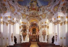 The Pilgrimage Church of Wies (German: Wieskirche) is an oval rococo church, designed in the late 1740s by Dominikus Zimmermann, Alps,  Steingaden in the Weilheim-Schongau district, Bavaria, Germany.