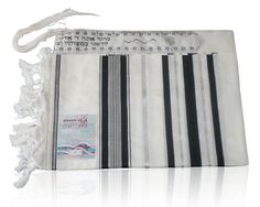 Akrilan Tallit with Black and Silver Stripes, Atara and Tallit Blessing by World of Judaica. $43.00. This Akrilan Tallit features black and silver stripes on the sides and an Atara at the top embroidered with Hebrew text and floral pattern in black and silver. This beautiful white Akrilan Tallit features a majestic black and silver color scheme that appears on the sides and Atara. The stripes on this Atara include blue and gold bands in a wide range of widths and are edged w...