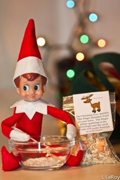 Our elf Chris Cringle did this one night and my child LOVED it!  Especially the glitter :)  Making reindeer food for Christmas Eve.