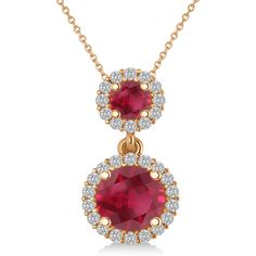 Allurez Two Stone Ruby & Halo Diamond Necklace  14k Rose Gold (1.50ct) ($3,125) ❤ liked on Polyvore featuring jewelry, necklaces, diamond necklace, red diamond necklace, red necklace, 14 karat gold necklace and red gold necklace
