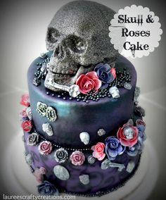 The small skulls, roses and other embellishments are molded chocolate. Description from laureescraftycreations.com. I searched for this on bing.com/images