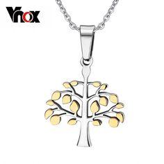Vnox collares colgantes para hombres mujeres navidad árbol de la vida collar colgante de regalos de acero inoxidable de plata y oro de color