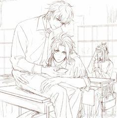 Manga Art, Manga Anime, Onmyoji Game, Cool Anime Guys, Anime Boys, Image Manga, Shounen Ai, Touken Ranbu, Colouring Pages