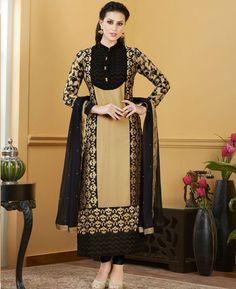 Buy Classy Beige And Black Straight Cut Salwar Kameez online at  https://www.a1designerwear.com/classy-beigeblack-straight-cut-salwar-kameez  Price: $60.33 USD