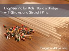 Challenge your kids to build a bridge out of straws and straight pins that will hold a cup with 100 pennies in it.  Fun challenge!