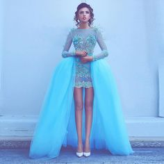 >> Click to Buy << Unique Short Prom Dresses 2017 See Through Lace Long Sleeve Evening Dress With Detachable Train Custom Made Sky Blue Party Dress #Affiliate