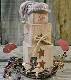 DIY Primitive Decor – Create your own Primitive Snowman out of Wood Blocks by joanne how adorable!!