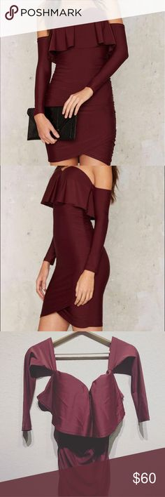 Nasty gal ruche hour mini dress This dress is totally perfect!! Red wine color that goes with every skin tone.. the fabric is a ten and it defines your curves. Its in new condition and sold out on nasty gal. Ask questions 😊 Dresses Mini