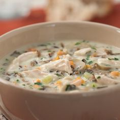 Turkey Leftover Recipes: Healthy Cream of Turkey soup Made recipe, then threw in crockpot on low until dinner time. Easy!