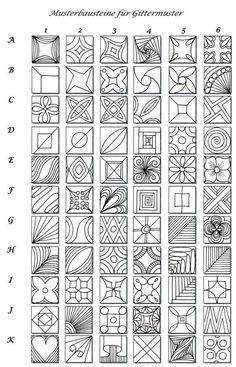 Smorgasboard of Simple Graphic Designs. Pick your favorite to copy and color by drawing it by hand in any size.