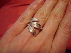 Handmade Sterling Silver Three Leaf Adjustable Ring