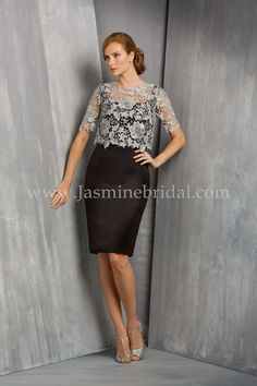Jasmine Bridal Jasmien Black Label Style M170058  in Sterling / Black // A chic and alluring mother-of-the-bride dress and stylish choice for any special occasion. This Stretch Radiant Taffeta dress features an elegant jewel neckline and sheath skirt, with a fashionable lace overlay on the bodice.