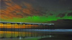 Damian Money took this shot of the northern lights over Saltburn Pier in North Yorkshire Sea Photography, Amazing Photography, North Yorkshire, Aurora Borealis, Northern Lights, Carousel, Roots, Photographs, Northen Lights