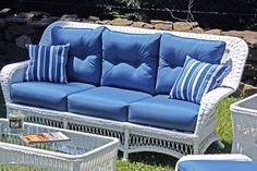 """Princeton Outdoor Wicker Sofa . $1119.00. ALL WEATHER Wicker! Maintenance-free premium outdoor vinyl wicker. Framed on Aluminum Wicker Available in Crisp White or Rich Chocolate Brown Color Choose from over 100 designer outdoor fabrics! Ships in 3-4 weeks. _______________ Measurements Sofa: 78""""w, 32""""d, 38""""h"""