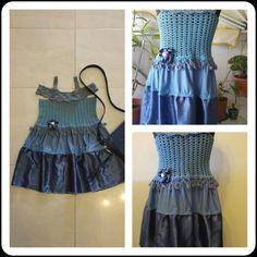 Crochet and sew.dress for girl