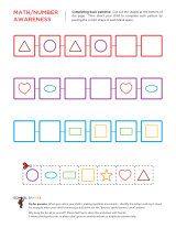 Kindergarten worksheets - Completing basic patterns - Beginning 3