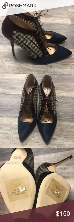JCREW Collection Lace-Up Houndstooth Pumps Brand New and Unworn. Fits a narrow foot, more like a size 8. There is a black mark over JCREW logo to prevent returns. The front is a gorgeous navy blue calf hair, the back has burgundy leather. Any light scuffs on bottom of shoe is due to trying on in store.  Calf hair, leather upper. Leather lining and sole. Made in Italy. Item B0916. J. Crew Shoes Heels