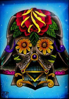 Darth Vader sugar skull watercolor painting by Steve Gillespie Darth Vader, Skull Tattoos, Tatoos, Skull Art, Skull Stencil, Star Wars Art, Pretty Pictures, Artsy Fartsy, Crane
