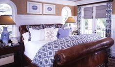 Great blue and white bedding with mixed fabrics