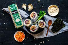 Sushi Burrito mit Vollkornreis, Misoaubergine und Austernpilzen Sushi Co, Veggie Sushi, Asian Recipes, Healthy Recipes, Ethnic Recipes, Healthy Food, Sushi Sandwich, Sushi Burrito, Eat This