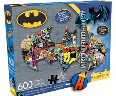 Packaging from this Batman 2-Sided Die-Cut Jigsaw Puzzle by Aquarius.